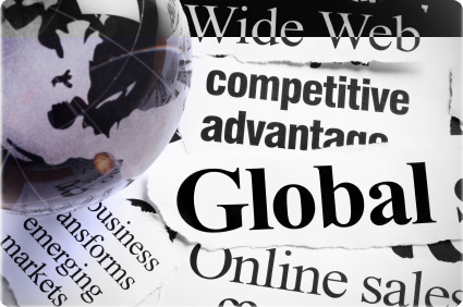 paperweight on headlines about international Internet business